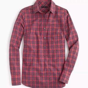 J Crew Red Tartan Plaid Popover Shirt Size 0